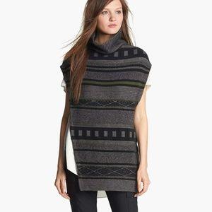 New Asymmetrical Multicolor Jacquard Cape Sweater